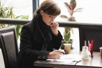 woman coffee working