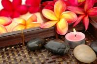meditate stones flower