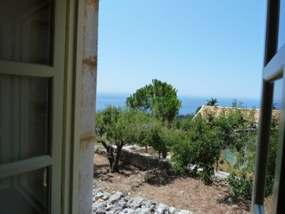 a view of Greece from an open window