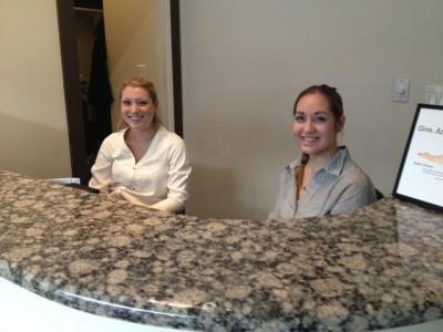 The Yinova front desk team, Sarah and Lea
