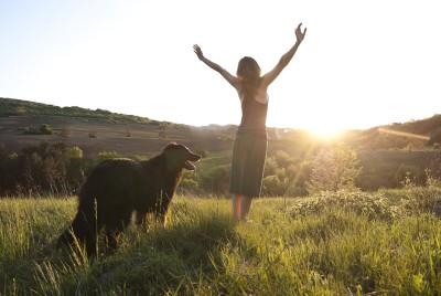 grateful woman and dog