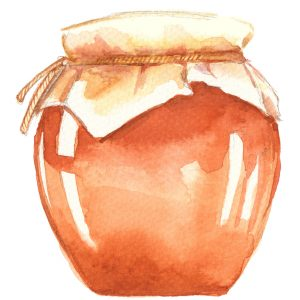 watercolor image of a pot of honey